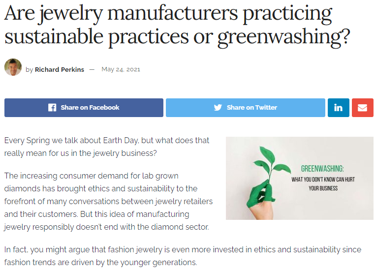 071421 - Sustainable Jewelry Manufacturing Practices or Greenwashing?
